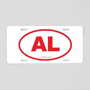Alabama AL Euro Oval RED Aluminum License Plate