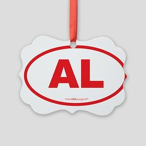 Alabama AL Euro Oval RED Picture Ornament