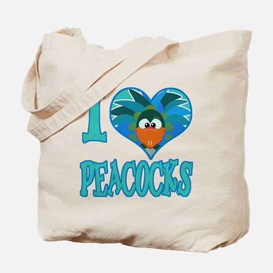 I Love (Heart) Peacocks Tote Bag