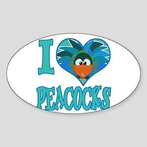 I Love (Heart) Peacocks Oval Sticker