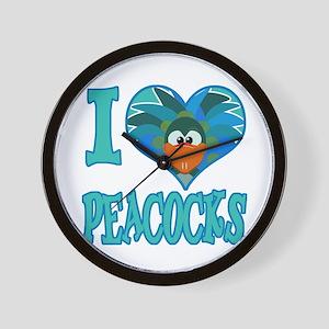 I Love (Heart) Peacocks Wall Clock