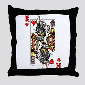 Great Dane Black K Hearts Throw Pillow