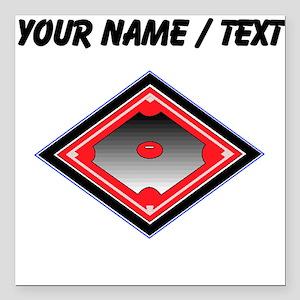 "Custom Red Baseball Diamond Square Car Magnet 3"" x"