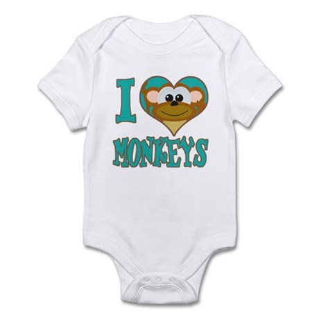 I Love (Heart) Monkeys Infant Bodysuit