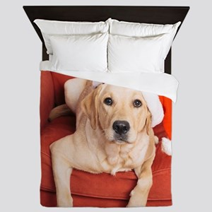 Dog with Christmas hat on armchair Queen Duvet