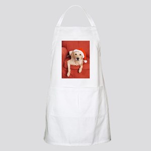 Dog with Christmas hat on armchair Apron