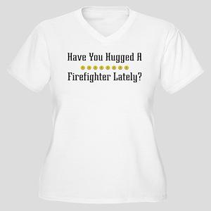 Hugged Firefighter Women's Plus Size V-Neck T-Shir