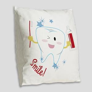 Smile! Burlap Throw Pillow
