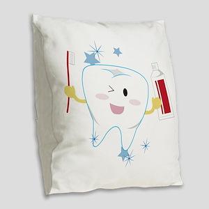 Tooth & Paste Burlap Throw Pillow