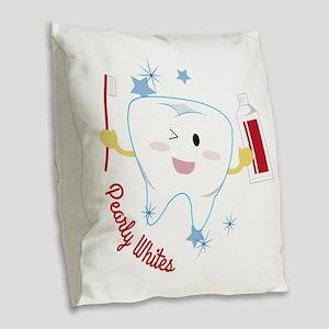 Pearly Whites Burlap Throw Pillow