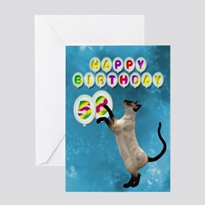 58th birthday with siamese cat. Greeting Cards