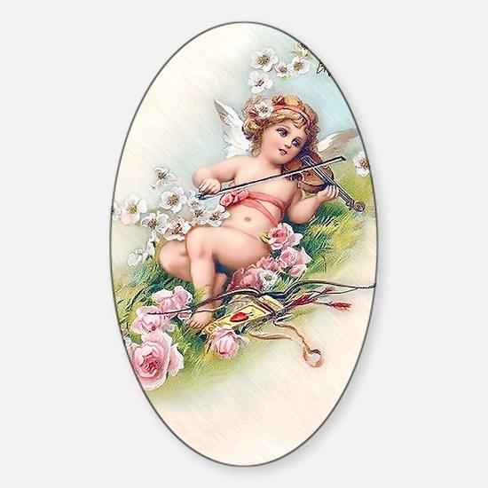 Angel, Roses, Violin Sticker (Oval)