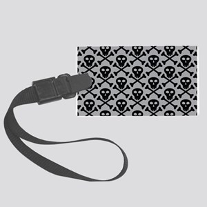 Skull and Crossbones Gray Large Luggage Tag
