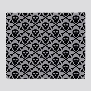 Skull and Crossbones Gray Throw Blanket