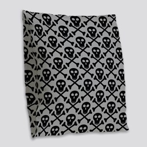 Skull and Crossbones Gray Burlap Throw Pillow