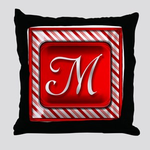 Peppermint Candy Cane Monogram M Throw Pillow