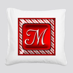 Peppermint Candy Cane Monogra Square Canvas Pillow