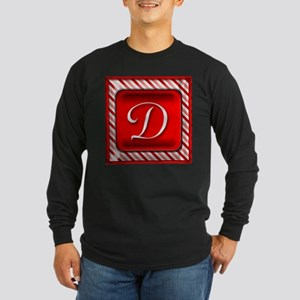 Peppermint Candy Cane Monogram D Long Sleeve T-Shi