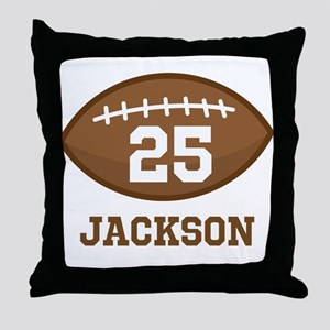 Personalized Football Player Throw Pillow