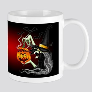 Witch with Jack O'Lantern and Bats Mugs