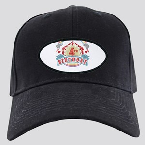 Circus Carnival Birthday 4th Black Cap with Patch