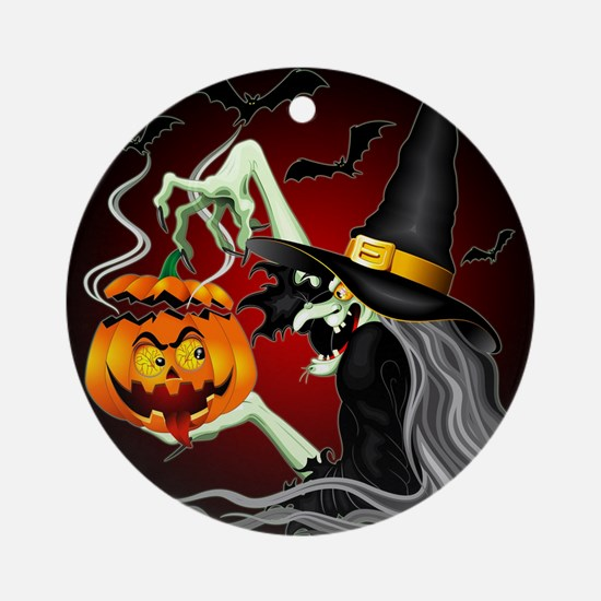 Witch with Jack O'Lantern and Bats Ornament (Round