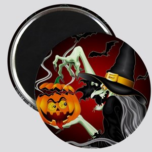 Witch with Jack O'Lantern and Bats Magnets