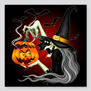 Witch with Jack O'Lantern and Bats Square Car Magn