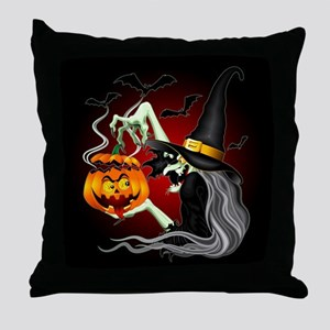 Witch with Jack O'Lantern and Bats Throw Pillow
