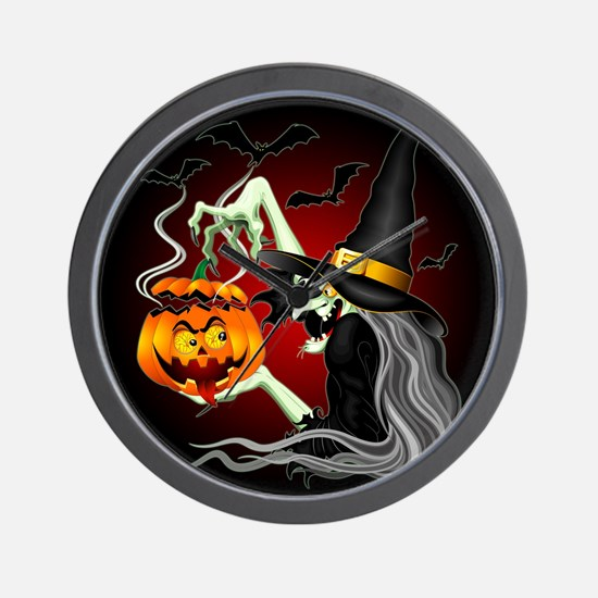 Witch with Jack O'Lantern and Bats Wall Clock