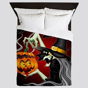 Witch with Jack O'Lantern and Bats Queen Duvet
