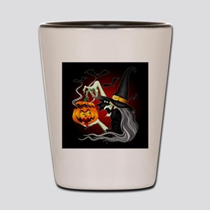 Witch with Jack O'Lantern and Bats Shot Glass