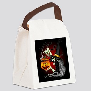 Witch with Jack O'Lantern and Bats Canvas Lunch Ba