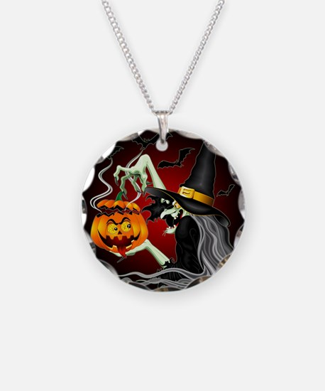Witch with Jack O'Lantern and Bats Necklace