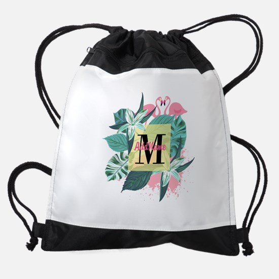 Personalized Flamingo Monogrammed Drawstring Bag