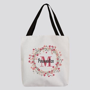 Personalized Floral Wreath Polyester Tote Bag