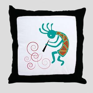 Dancing Flutist Throw Pillow