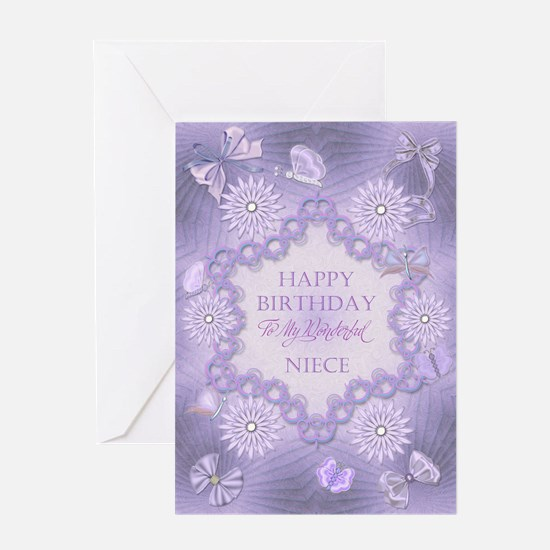 For niece, lilac birthday card with flowers Greeti