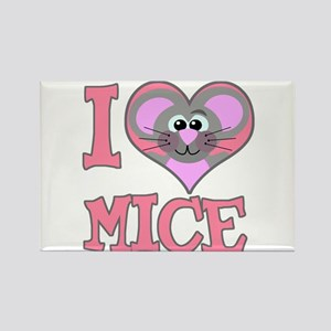 I Love (Heart) Mice Rectangle Magnet