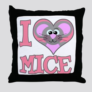 I Love (Heart) Mice Throw Pillow