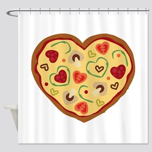 Pizza Heart Shower Curtain