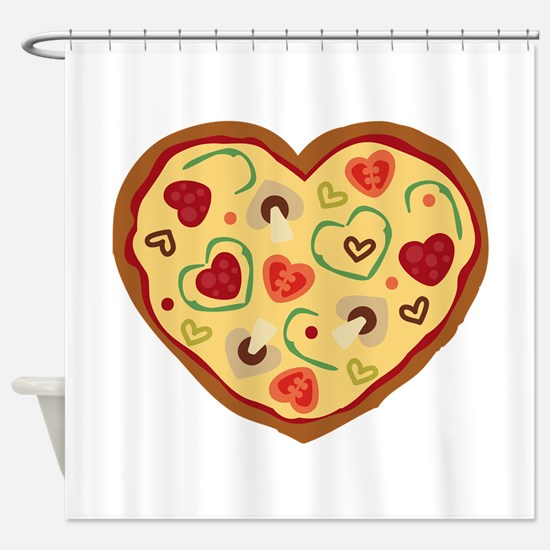 Pizza Heart Shower Curtain