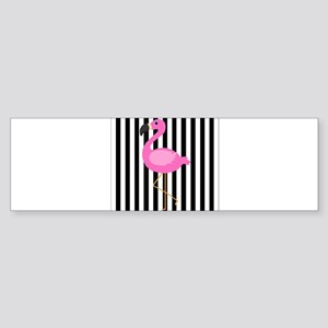 Pink Flamingo on Black and White Stripes Bumper St