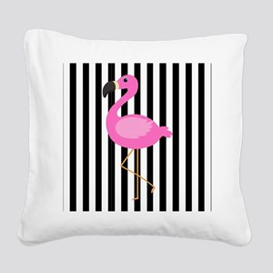 Pink Flamingo on Black and White Stripes Square Ca