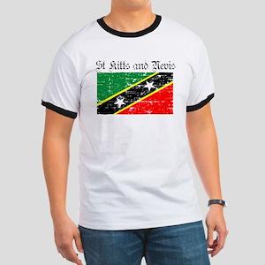 Saint Kitts and Nevis Flag Ringer T