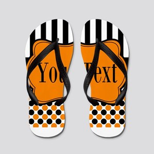 Personalizable Orange and Black Flip Flops