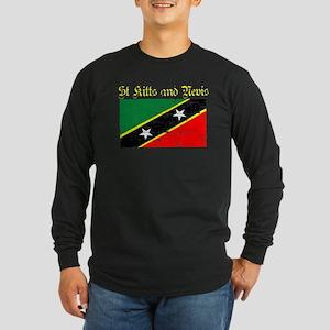 Saint Kitts and Nevis Flag Long Sleeve Dark T-Shir