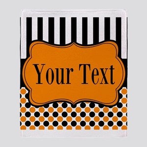Personalizable Orange and Black Throw Blanket