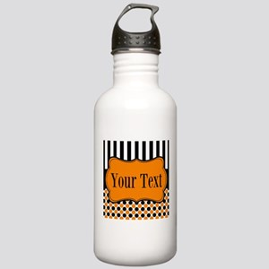 Personalizable Orange and Black Water Bottle