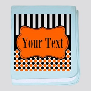 Personalizable Orange and Black baby blanket
